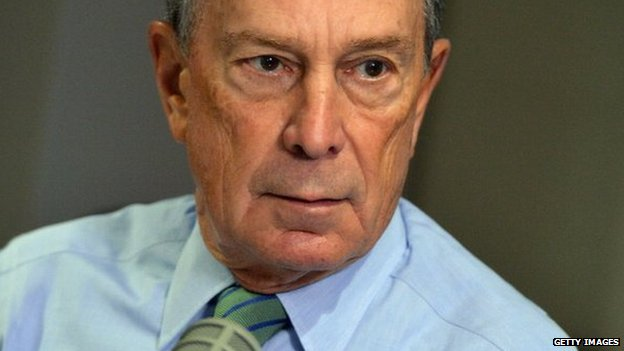 Michael Bloomberg visits John Gambling's final special on WOR 710 AM at WOR Studios in New York City 20 December 2013