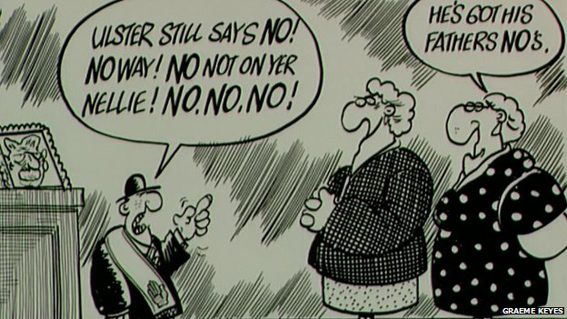 Cartoonist Graeme Keyes satirising the 'Ulster says no' slogan