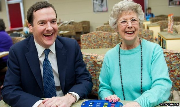 George Osborne has a game of bingo after his Budget duty cuts