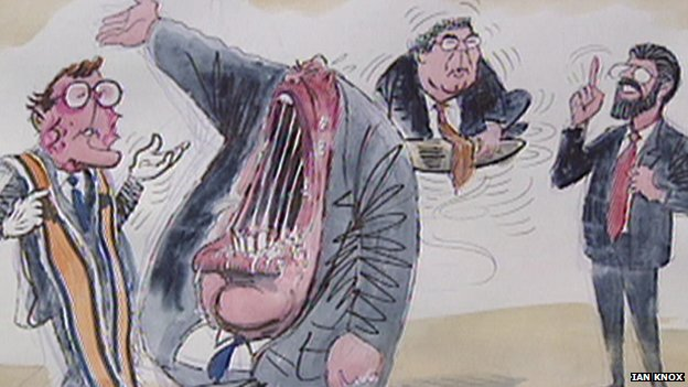 Ian Knox's depiction of  David Trimble, Ian Paisley, John Hume and Gerry Adams in the 1990s