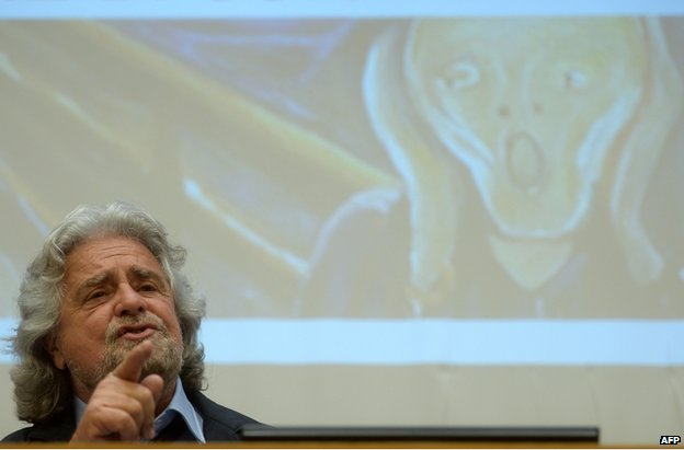 Beppe Grillo gives a press conference in Rome, 15 April