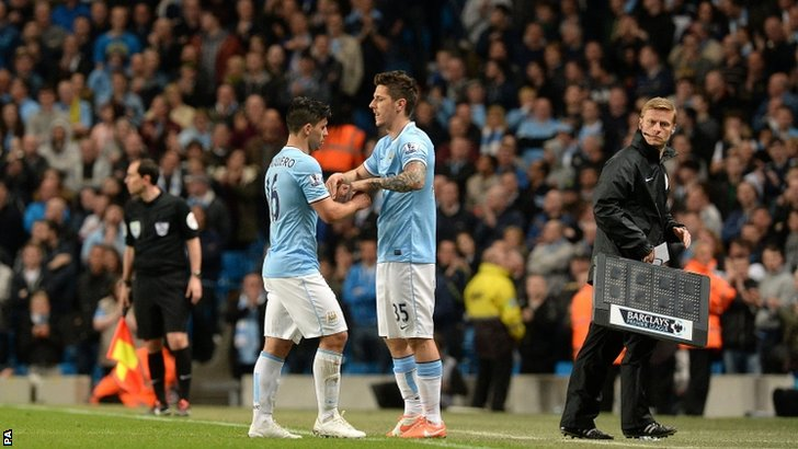 Stevan Jovetic comes off the substitutes bench to replace Sergio Aguero