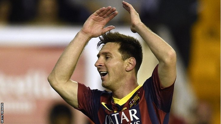 Barcelona's Argentinian forward Lionel Messi reacts with disappointed during the Spanish Copa del Rey