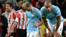 Manchester City players look miserable after Sunderland score
