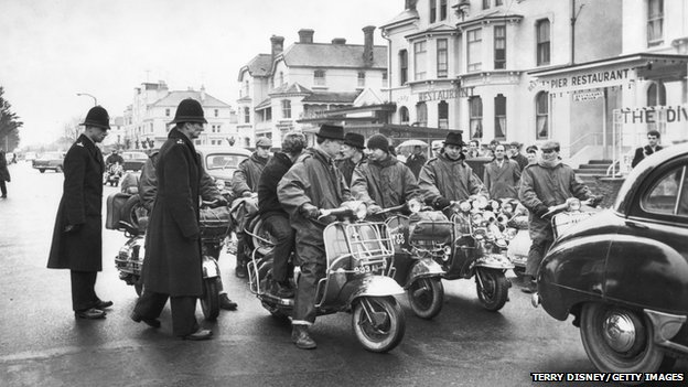 Police and mods in Clacton in 1964