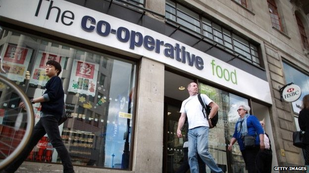 Shoppers outside a Co-operative Group supermarket