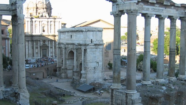 The ruins of Forum Romanum in Rome
