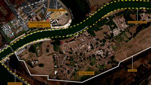 Satellite image that shows a new section of the boundary wall of the river port of ancient Rome which scientists say proves that the city was much larger than previously estimated