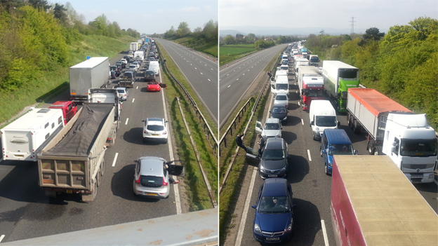 Traffic queue on the M5