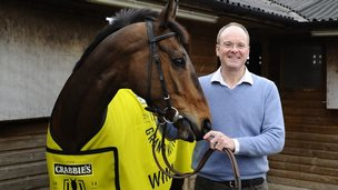 Grand National winner Pineau De Re and winning trainer Dr Richard Newland, from Claines, Worcestershire