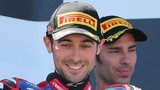 Eugene Laverty (left) celebrates after his win in Australia