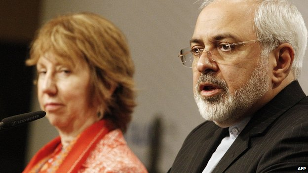 File photo: Catherine Ashton, High Representative of the Union of Foreign Affairs and Security Policy for the European Union, and Iranian Foreign Minister Mohammad Javad Zarif give a press statement at the UN headquarters in Vienna, Austria on 9 April 2014
