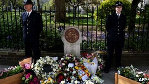 Floral tributes at the memorial for PC Yvonne Fletcher
