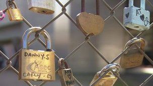 Love locks in east London