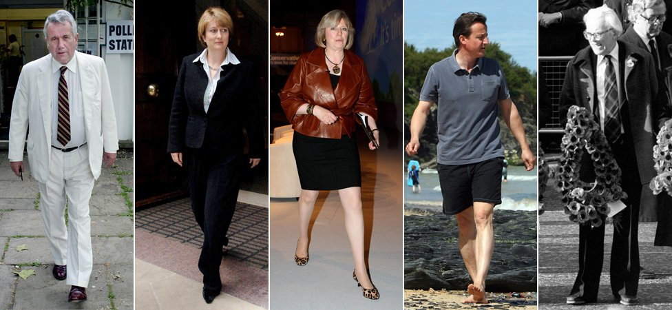 From left to right: Martin Bell, Jacqui Smith, Theresa May, David Cameron, Michael Foot