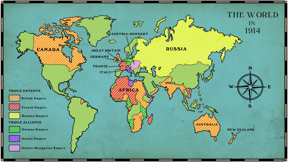 Bbc schools causes world map showing the alliances and their respective empires before the outbreak of war in 1914 gumiabroncs Gallery