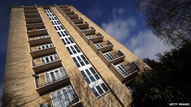 The sun reflects on windows in a block of flats on 2 January 2012 in Bath, England.