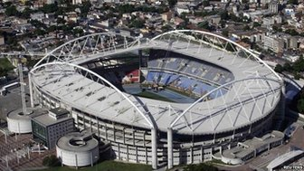 An aerial shot shows the Olympic Stadium, which is closed for repair works on its roof, in Rio de Janeiro March 28, 2014.