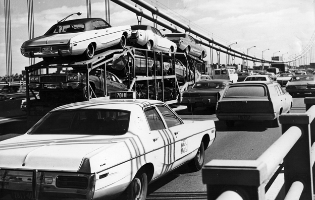 US cars on a road, 1975