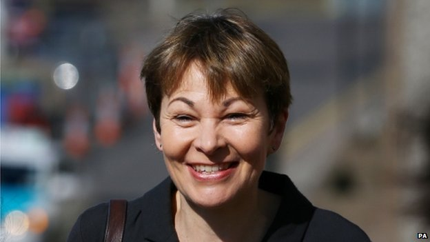 Caroline Lucas arriving at court on 17/04