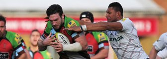 Harlequins' Tom Guest and Leicester's Thomas Waldrom