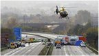 Emergency services attending the scene of the M5 pile-up in 2011