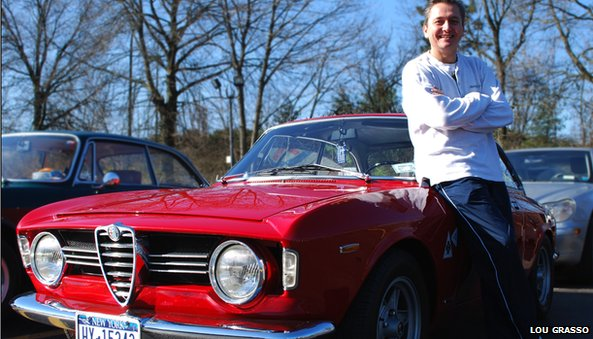 Dino Pappous in front of Alfa Romeo car