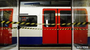 Tube train at Oxford Circus during the last strike