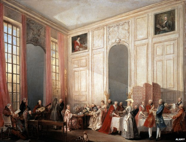 Le The a l'Anglaise' (Tea served in the English fashion in the salons of the Four Mirrors, Palace of the Temple, Paris, 1764).