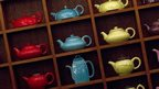 French luxury Tea House, Mariage Freres display of tea pots