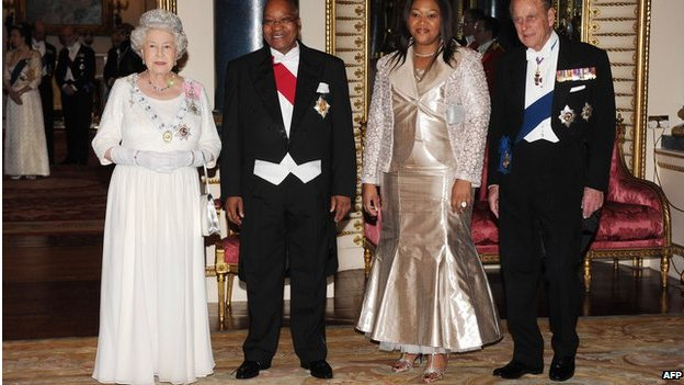 Queen Elizabeth II, Prince Philip, Duke of Edinburgh, President Jacob Zuma  and his wife Tobeka Madiba Zuma attend a state banquet at Buckingham Palace on 3 March 2010 in London