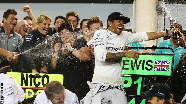 Lewis Hamilton champagne