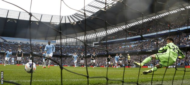 Toure has scored 22 goals for City this season, four from the penalty spot