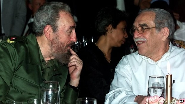 In this March 3, 2000 file photo, Cuba's Fidel Castro, left, and Gabriel Garcia Marquez speak during a dinner in Havana, Cuba.