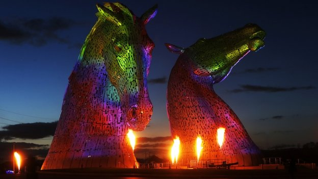 Kelpie sculptures lit up for pyrotechnic launch event