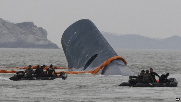 South Korean Coast Guard officers search for missing passengers aboard a sunken ferry in the waters off the southern coast near Jindo, South Korea on 17 April 2014