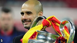 Pep Guardiola with the Champions League trophy for Barcelona at Wembley in 2011