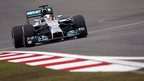 "Mercedes driver Lewis Hamilton of Britain steers his car during a practice session ahead of Sunday""s Chinese Formula One Grand Prix at Shanghai International Circuit in Shanghai."