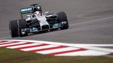 Mercedes driver Lewis Hamilton of Britain steers his car during a practice session ahead of Sunday