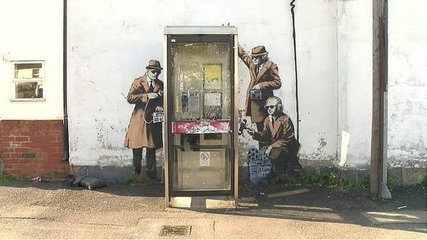 Street art in Cheltenham, possibly by Banksy