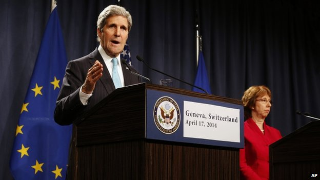 US Secretary of State John Kerry, with European Union High Representative Catherine Ashton, speaks to the media in Geneva