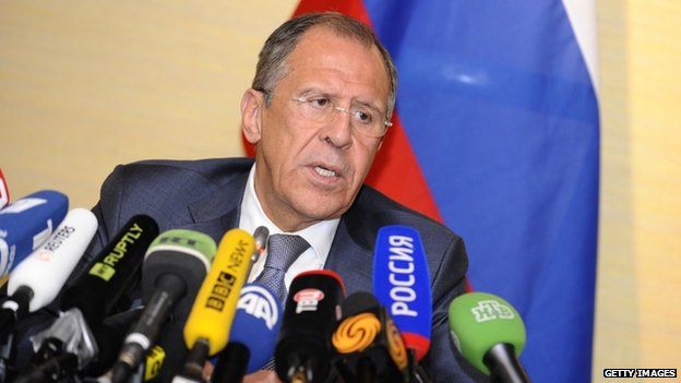 Russian Foreign Minister Sergei Lavrov gives a press conference in Geneva