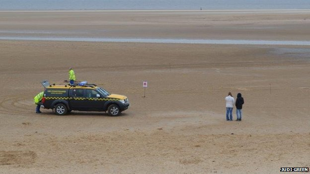 Coastguard on beach at Holkham