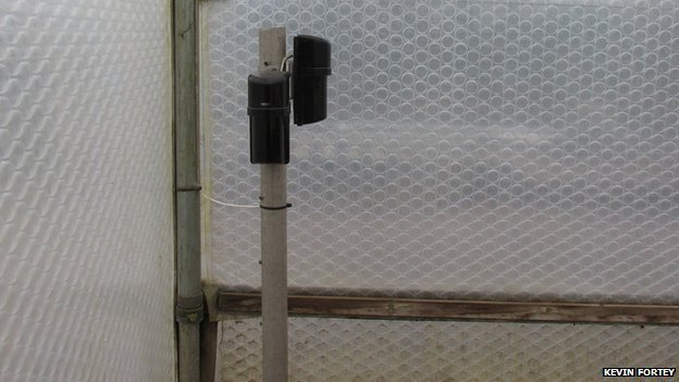 If the area inside the greenhouse is breached the infrared security system triggers an alarm