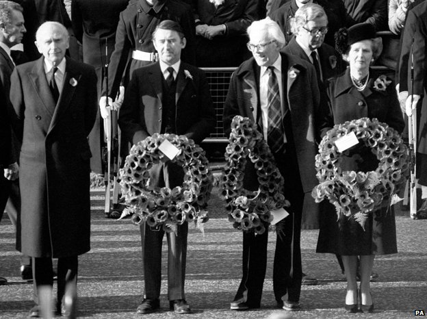 Margaret Thatcher, with other politicians, (from left) Lord Home, Liberal leader David Steel and opposition leader Michael Foot with a wreath at the Cenotaph in Whitehall, London, for the Remembrance Sunday service, 1981.