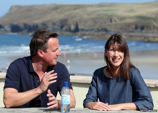 David and Samantha Cameron on holiday in Cornwall in 2013