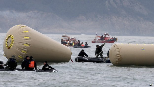 South Korean navy personnel try to install buoys to mark the sunken passenger ship Sewol in the water off the southern coast near Jindo on 18 April 2014.