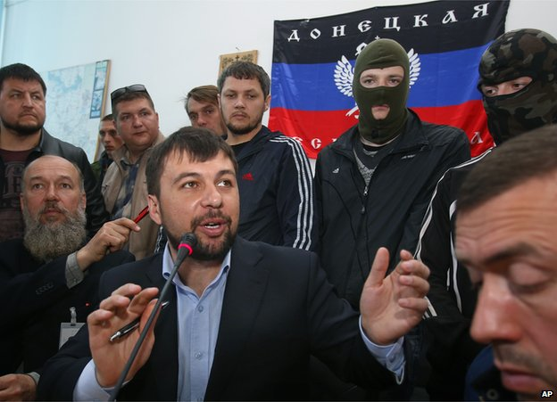 Pro-Russian separatists in Donetsk, 18 Apr 14