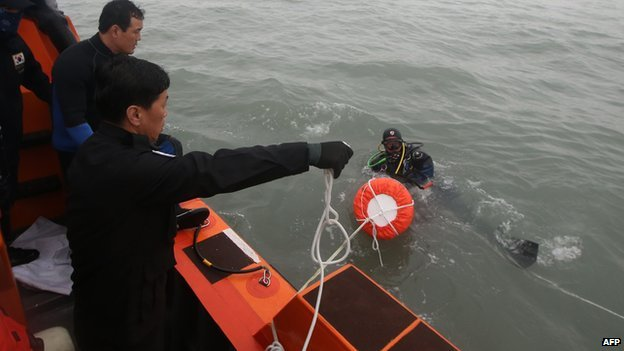 Южнокорейские члены спасательных подготовить искать пропавших без вести пассажиров с перевернулась парома в море у Jindo 18 апреля 2014 года.