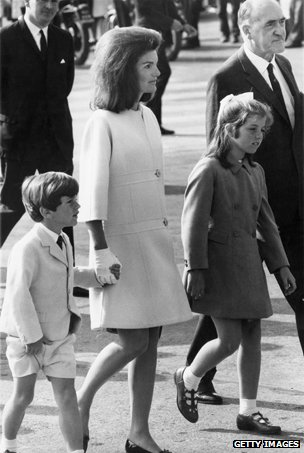 Jackie Kennedy and her children at Shannon Airport